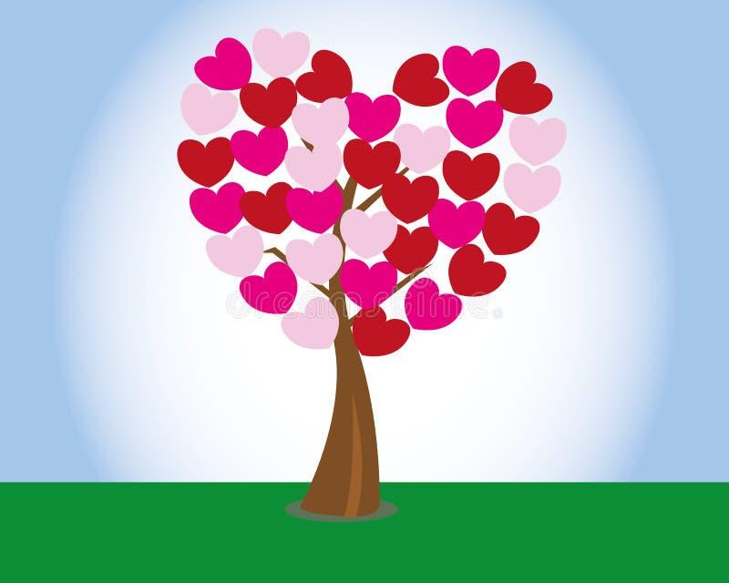 vektor för valentin för tree för bakgrundshjärtaform royaltyfri illustrationer