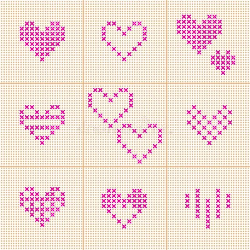 vektor för valentin för pardagillustration älska 9 inställda hjärtor Korsstygn vektor illustrationer