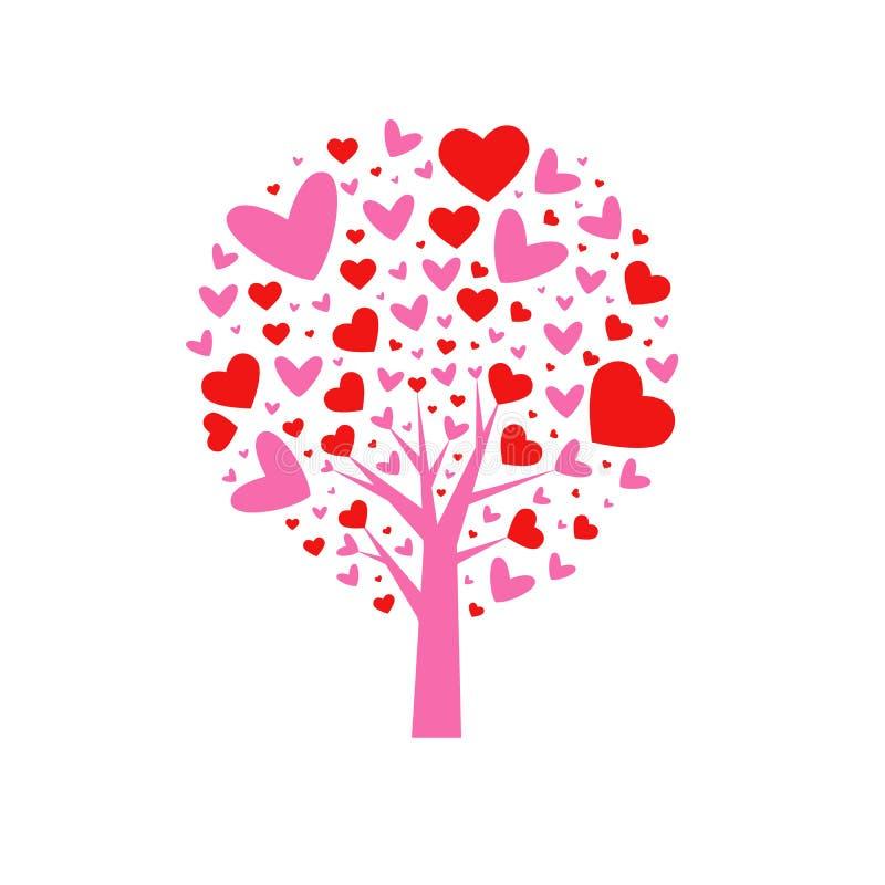 vektor för valentin för tree för bakgrundshjärtaform Blad från hjärtor bakgrund isolerad white också vektor för coreldrawillustra royaltyfri illustrationer