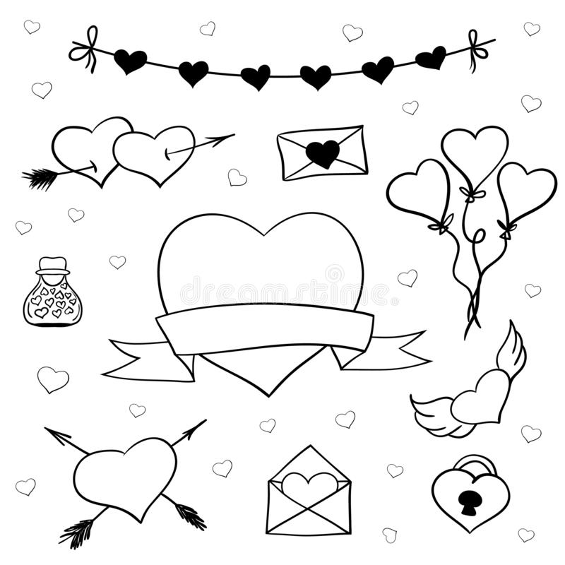 Vektor för valentindagklotter royaltyfri illustrationer