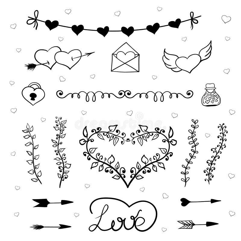 Vektor för valentindagklotter vektor illustrationer