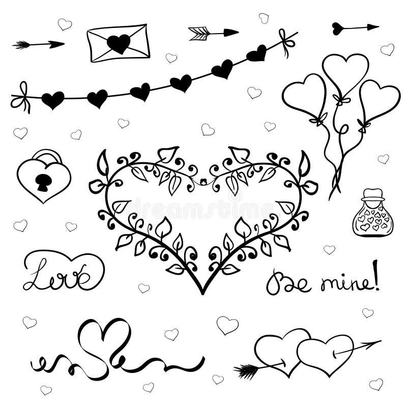 Vektor för valentindagklotter stock illustrationer
