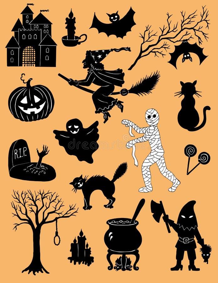 vektor för vampyr för sorceress för grym halloween illustrationreaper set royaltyfri illustrationer