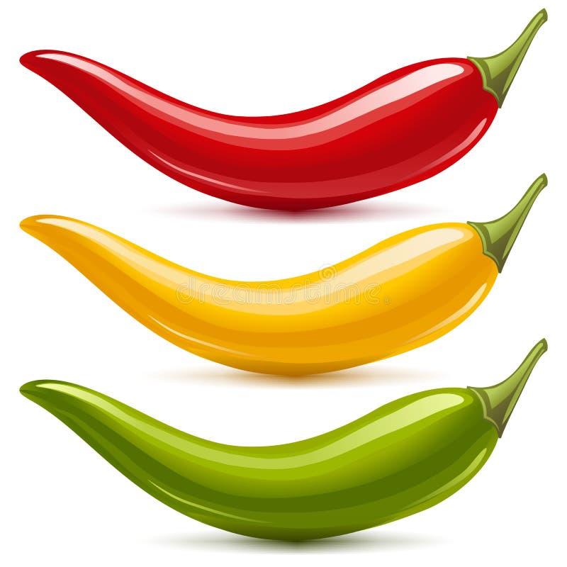 vektor för varm peppar för chili set stock illustrationer