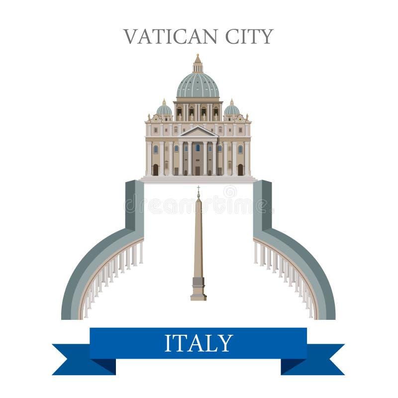 Vektor för Vatican City piazzaSan Pietro Square Rome Italy lägenhet stock illustrationer