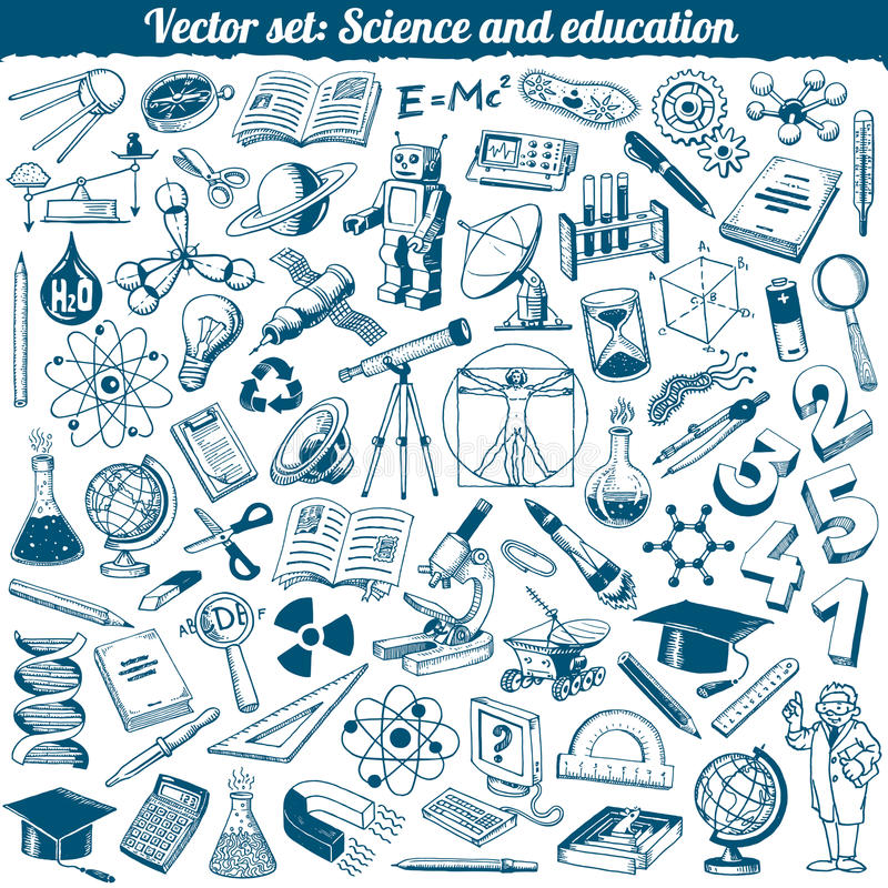 Vektor för vetenskaps- och utbildningsklottersymboler vektor illustrationer