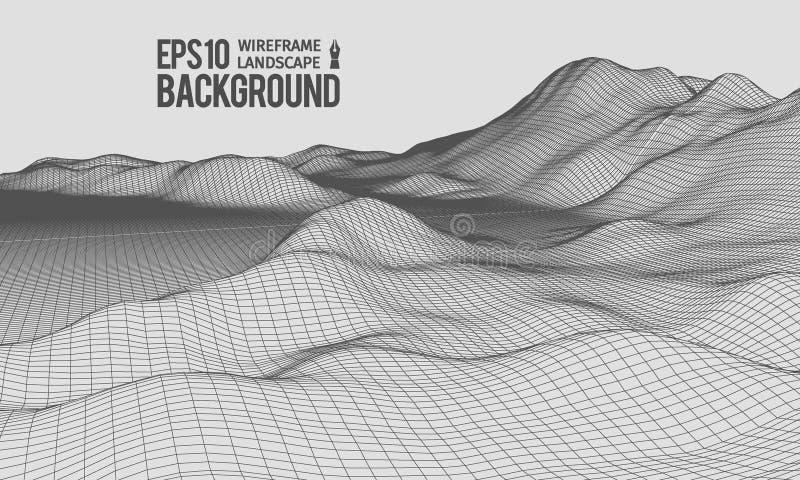 vektor för vinkel EPS10 för terräng för 3D Wireframe bred royaltyfri illustrationer