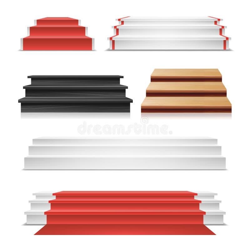 Vektor för vinnarepodiumuppsättning Röd matta Trätrappuppgång royaltyfri illustrationer