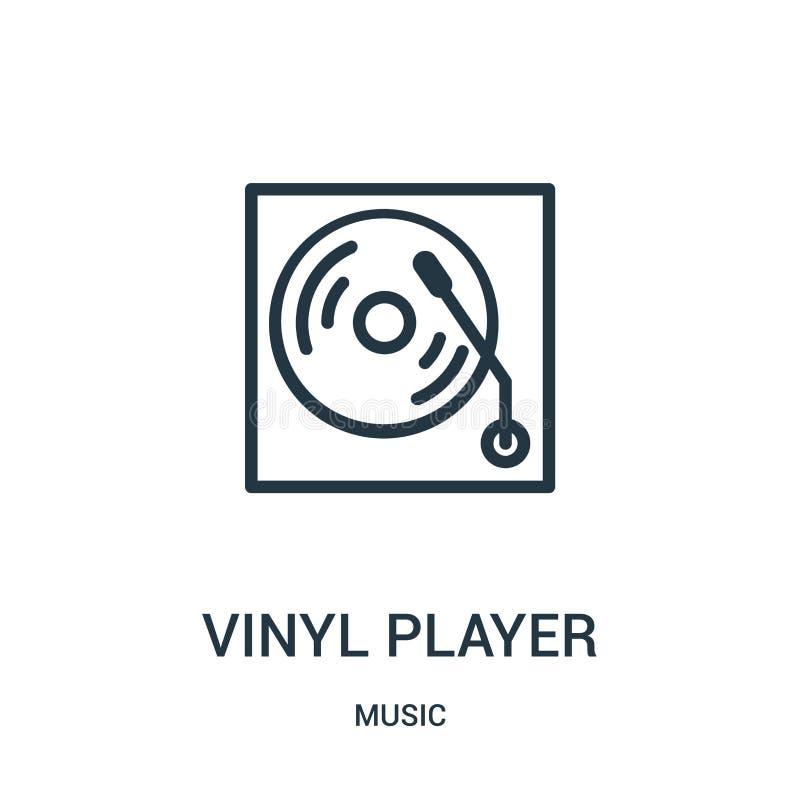 vektor för vinylspelaresymbol från musiksamling Tunn linje illustration för vektor för symbol för vinylspelareöversikt royaltyfri illustrationer
