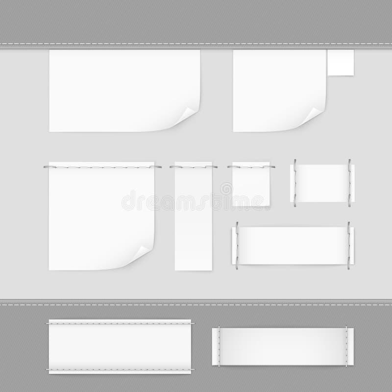 Vektor för vit för uppsättning för etikettetikettshäftklammer stock illustrationer
