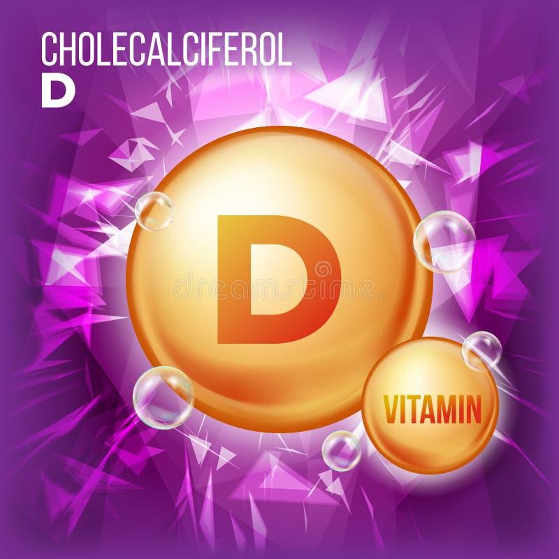 Vektor för vitamin D Cholecalciferol Symbol för preventivpiller för vitaminguldolja Guld- preventivpillersymbol för organiskt vit stock illustrationer