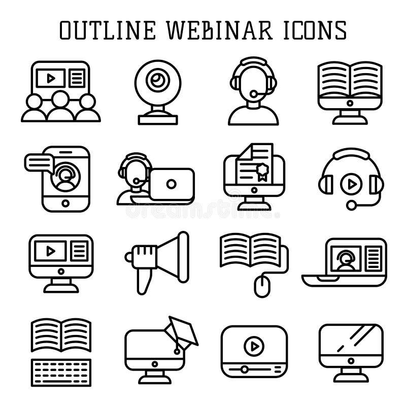 Vektor för Webinar översiktssymboler vektor illustrationer