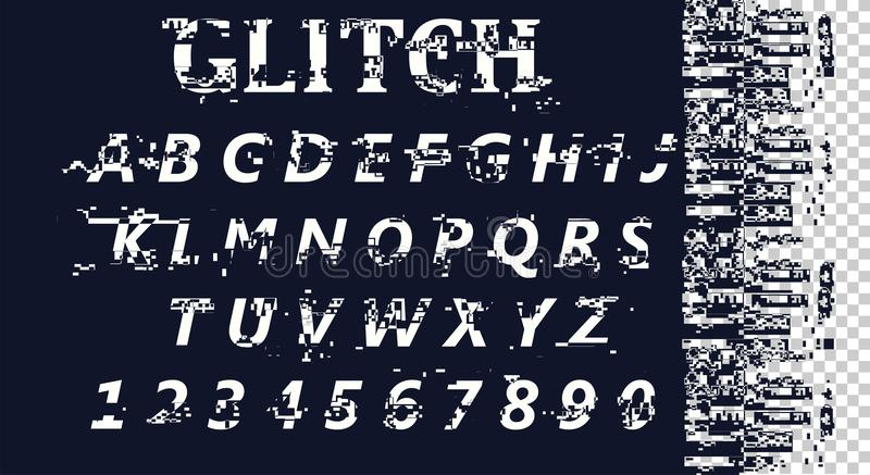 Vektor förvriden tekniskt felstilsort Moderiktig stilbokstäverstilsort Latinska bokstäver från A till Z och nummer från 0 till 9 vektor illustrationer