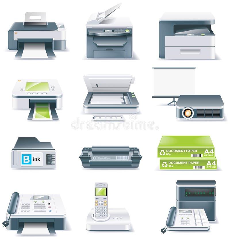 Vektor führte Computerteil-Ikonenset einzeln auf. Teil 4 lizenzfreie abbildung