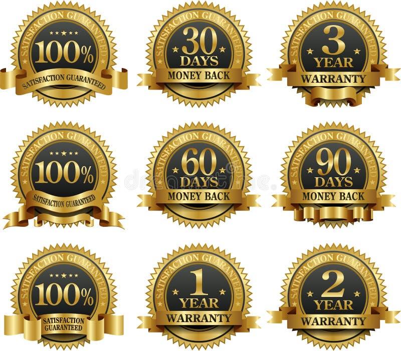 vektor för set för 100 guld- guaranteeetiketter stock illustrationer