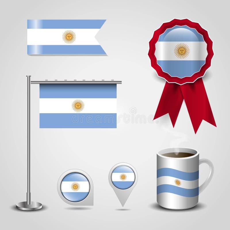Vektor f?r Argentina flaggadesign stock illustrationer