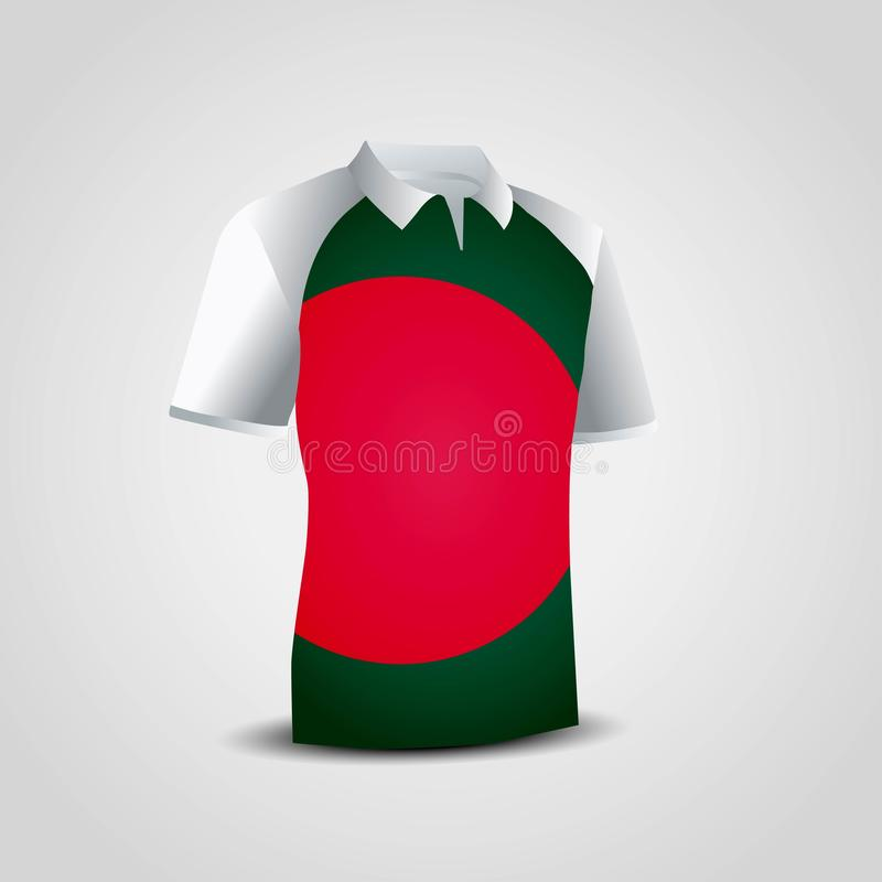 Vektor f?r design f?r Bangladesh flaggaskjorta vektor illustrationer