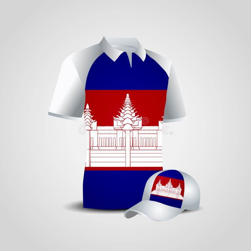 Vektor f?r design f?r Cambodja flaggaskjorta stock illustrationer