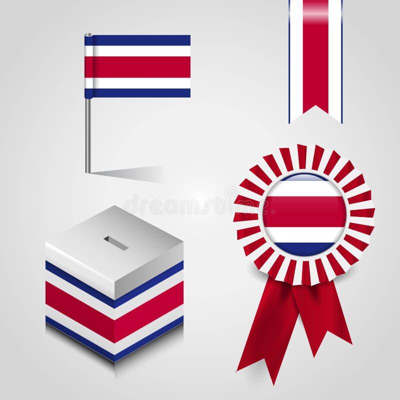 Vektor f?r design f?r Costa Rica flaggasymbol vektor illustrationer