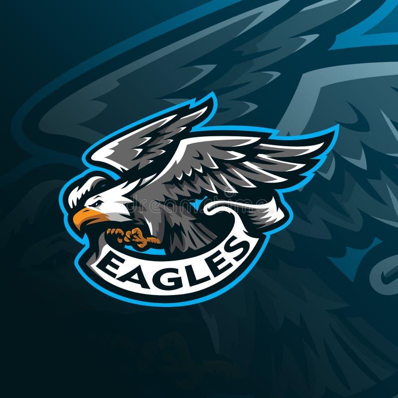 Vektor f?r design f?r Eagle maskotlogo med modern illustrationbegreppsstil f?r emblem-, emblem- och tshirtutskrift Ilsken ?rn vektor illustrationer