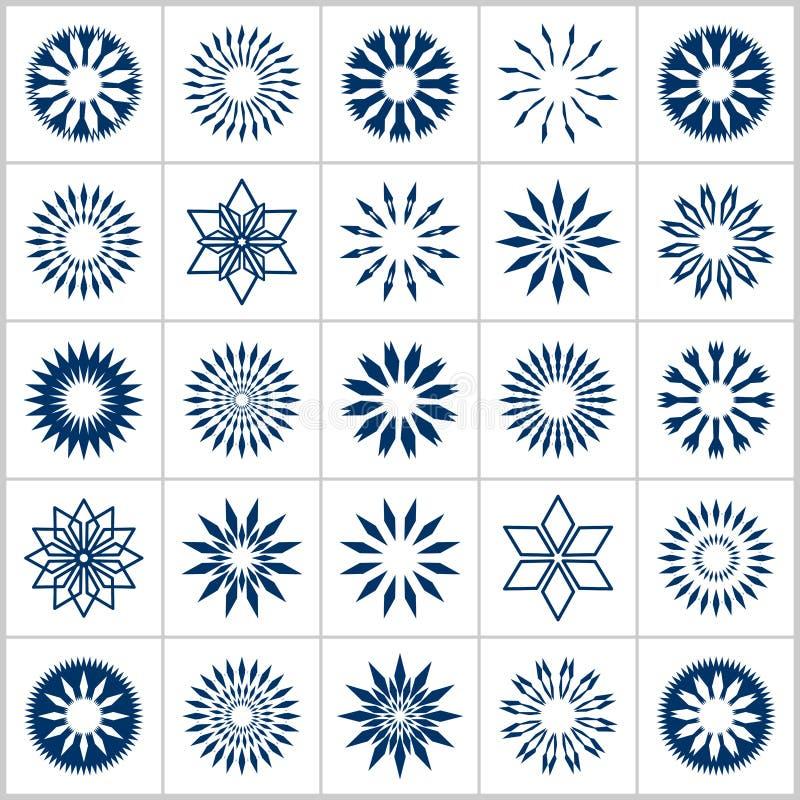 vektor f?r designelementset Abstrakta geometriska dekorativa symboler stock illustrationer