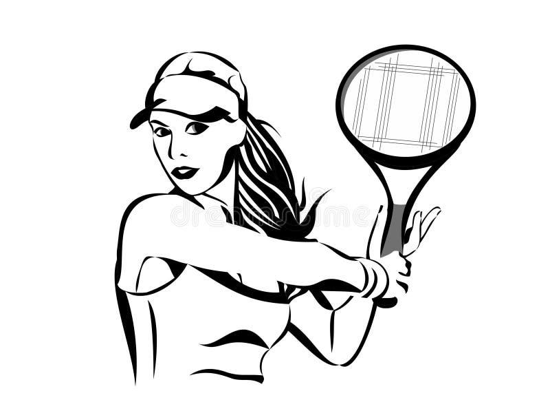 vektor f?r illustration f?r teckning f?r tennisspelare f?r sporttennisflicka stock illustrationer