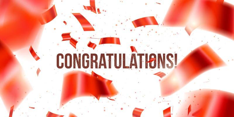 vektor f?r korth?lsningsillustration R?da konfettier Congratuletions glitter Fallande skinande konfetti blänker isolerat på genom vektor illustrationer