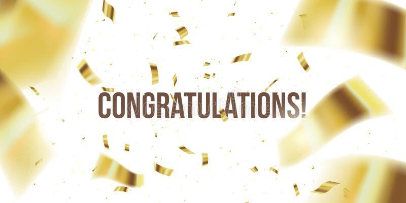 vektor f?r korth?lsningsillustration Guld- konfettier Congratuletions glitter Fallande skinande konfetti blänker isolerat på geno vektor illustrationer