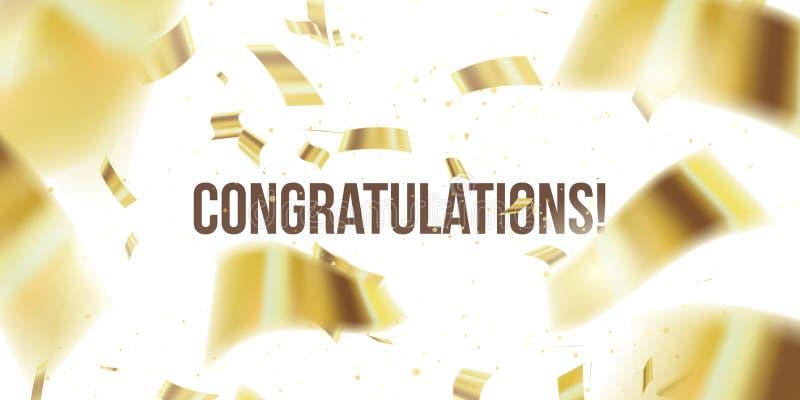 vektor f?r korth?lsningsillustration Guld- konfettier Congratuletions glitter Fallande skinande konfetti blänker isolerat på geno stock illustrationer