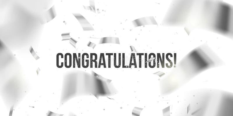 vektor f?r korth?lsningsillustration Silverkonfettier Congratuletions glitter Fallande skinande konfetti blänker isolerat på geno vektor illustrationer