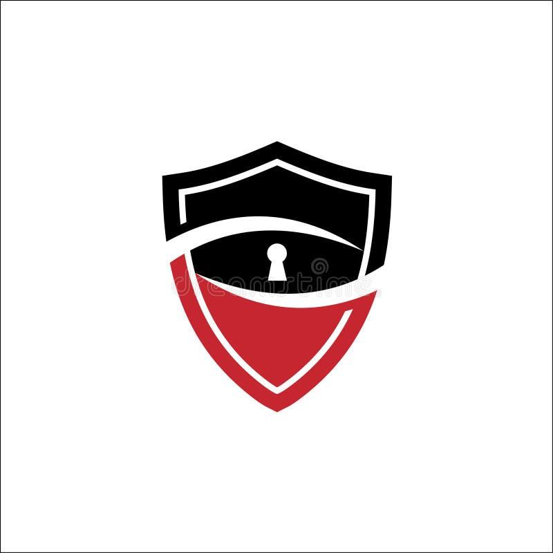 Vektor f?r ordningsvaktlogodesign Sköld tangent, blick royaltyfri illustrationer