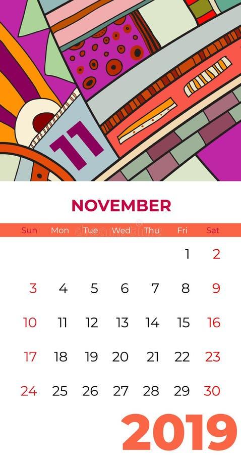 2019 vektor f?r samtida konst f?r November kalender abstrakt Skrivbord sk?rm, skrivbords- m?nad 11,2019, f?rgrik kalendermall 201 stock illustrationer