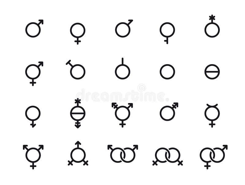 vektor f?r set symboler f?r kvinnliggenus male Tecken för sexuell riktning Manligt kvinnlig, transgender, bigender, travesti, gen vektor illustrationer