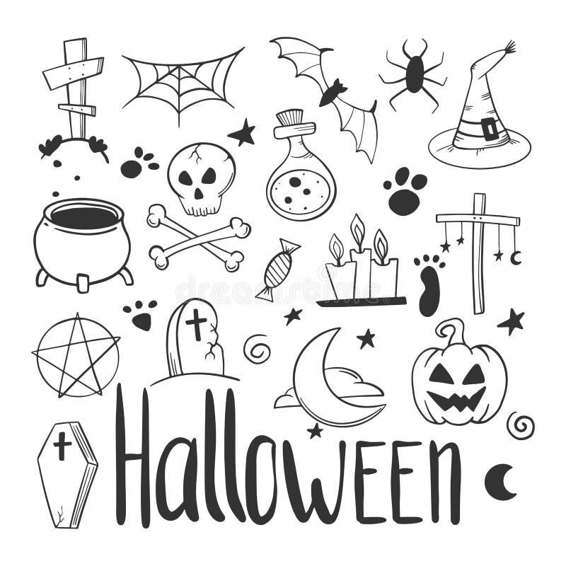 vektor f?r vampyr f?r sorceress f?r grym halloween illustrationreaper set Pumpa och kittel Vektorbegrepp i klotter och att skissa vektor illustrationer