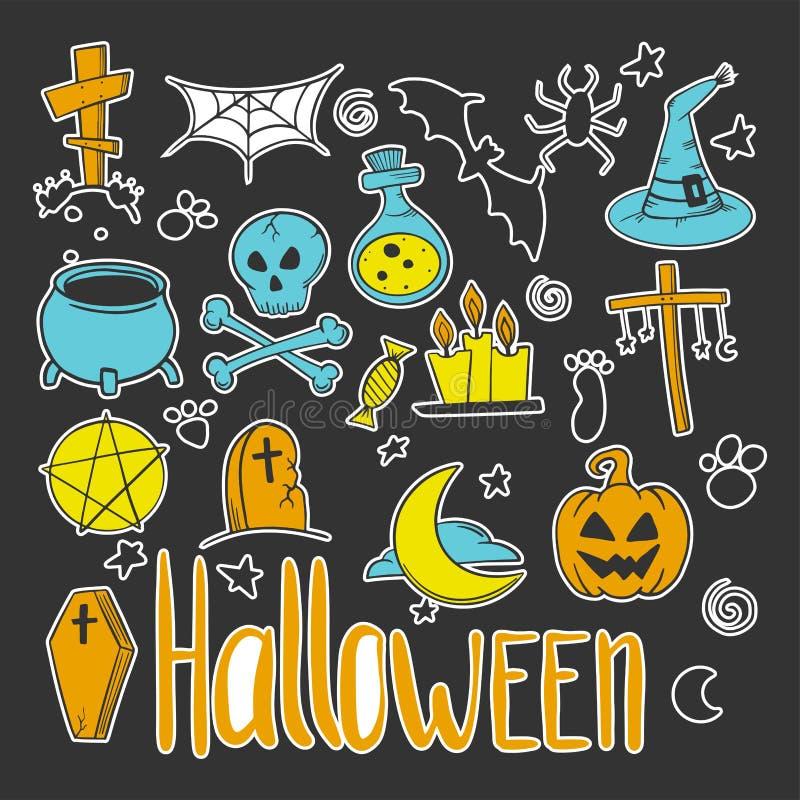 vektor f?r vampyr f?r sorceress f?r grym halloween illustrationreaper set Pumpa och kittel Vektorbegrepp i klotter och att skissa stock illustrationer