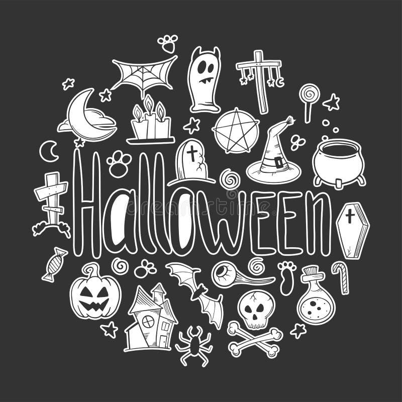 vektor f?r vampyr f?r sorceress f?r grym halloween illustrationreaper set Pumpa och kittel Vektorbegrepp i klotter och att skissa royaltyfri illustrationer
