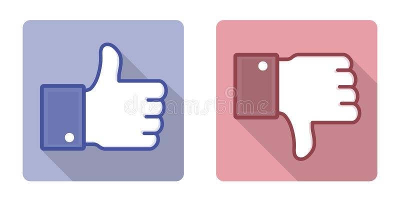 Vektor Facebook som motviljatummen upp tecken stock illustrationer