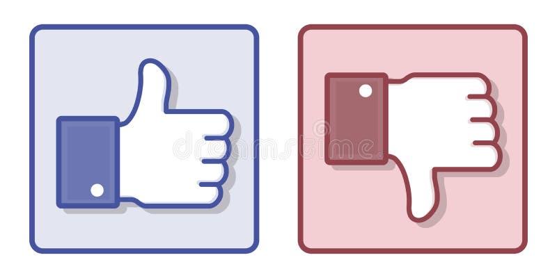 Vektor Facebook som motviljatummen upp tecken vektor illustrationer