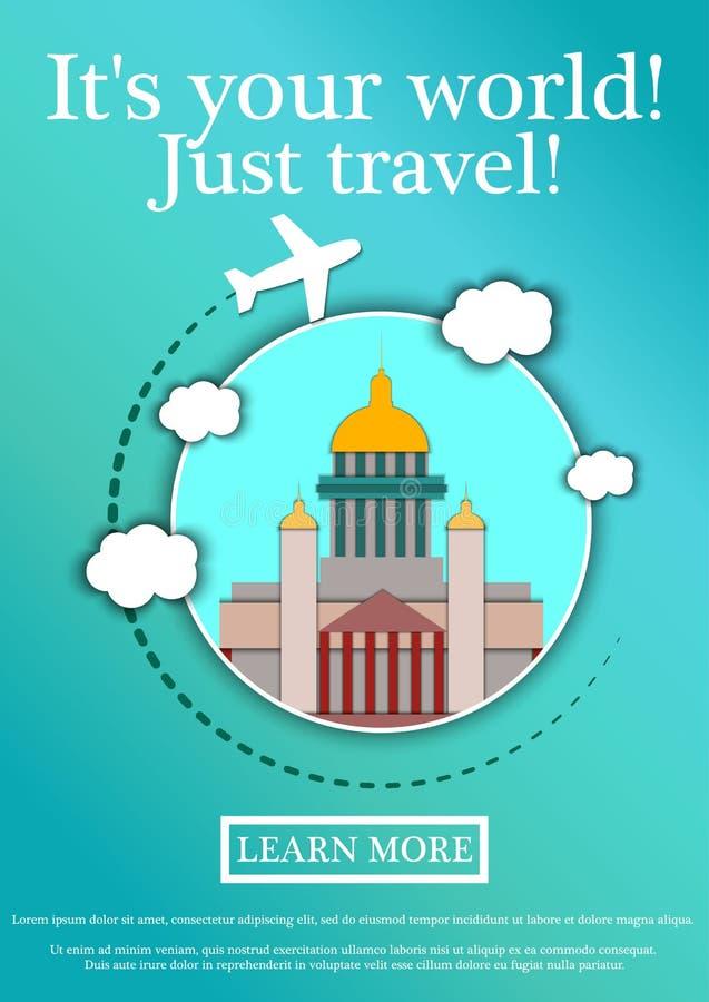 Vektor-Fahne mit Text seine Ihre Welt Gerade Reise Konzeptwebsiteschablone Modernes flaches Design ` S St. Isaac Kathedrale stock abbildung