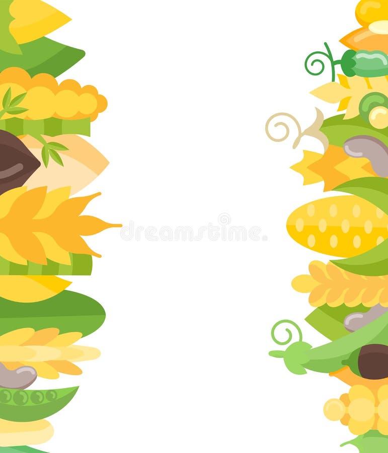 Vektor-Fahne von Getreide und von Bohnen stock abbildung