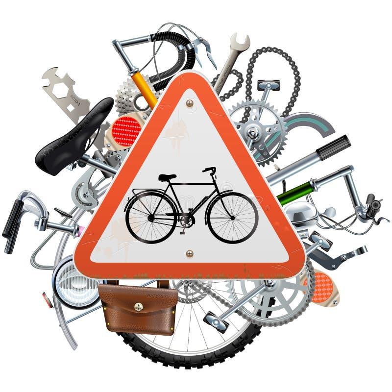Vektor-Fahrrad erspart Konzept mit Dreieck-Zeichen vektor abbildung