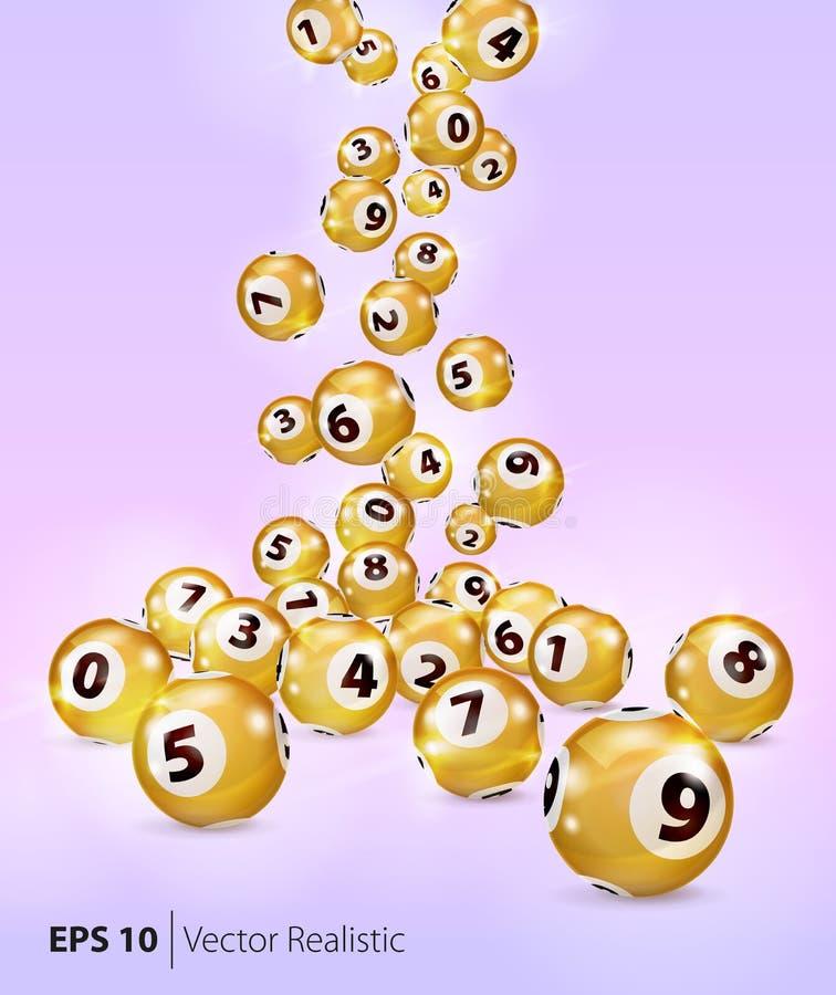 Vektor-fallen goldene Bingobälle nach dem Zufall vektor abbildung