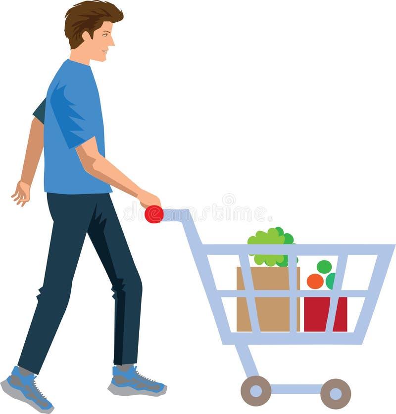 Vektor - familjshopping i supermarketillustration royaltyfri illustrationer