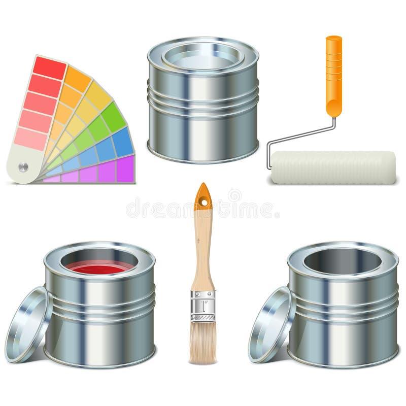 Vektor-Farbe können und Bürsten-Ikonen lizenzfreie abbildung