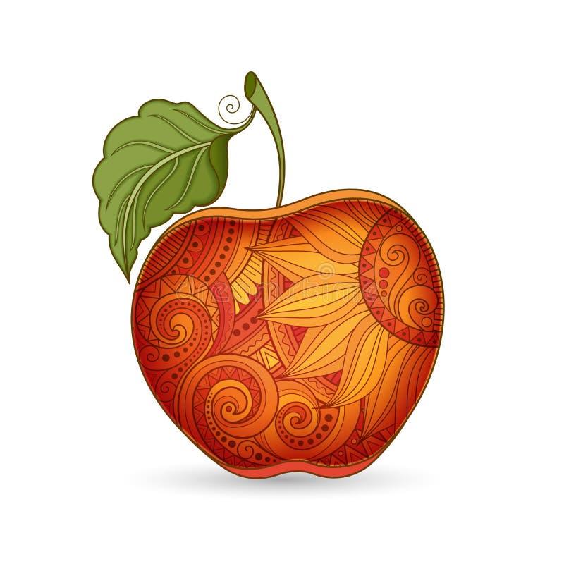 Vektor farbige Kontur Apple vektor abbildung