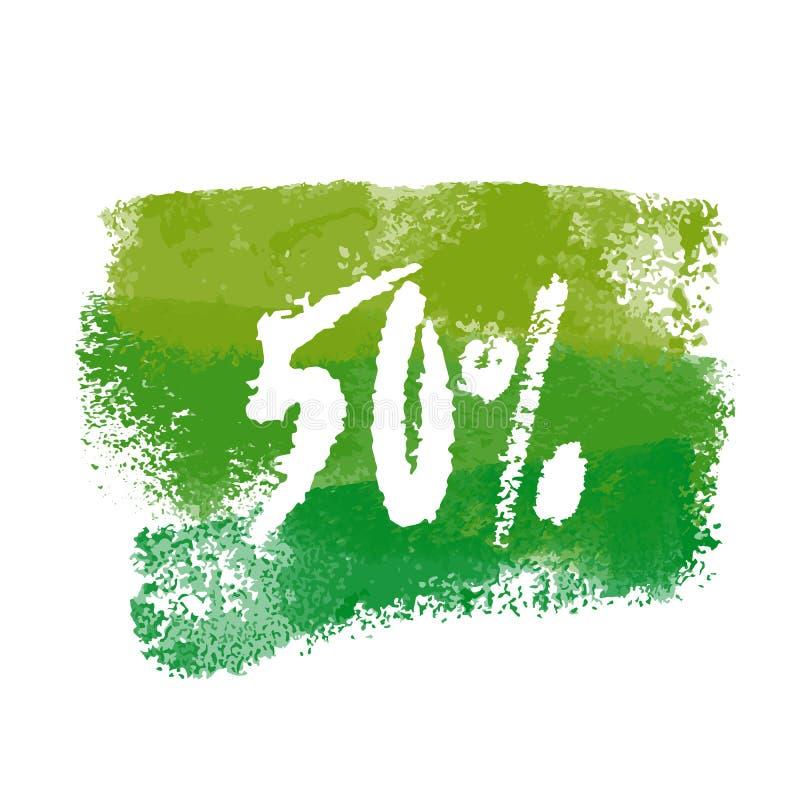 Vektor femtio procent etikett stock illustrationer