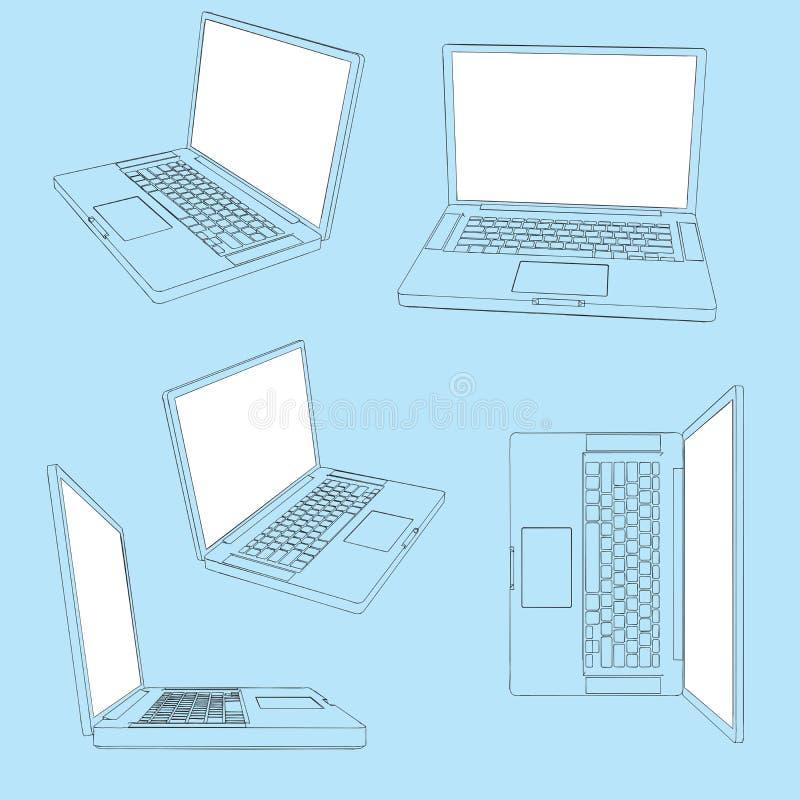 Vektor-flüchtiger Laptop in fünf Ansichten lizenzfreie abbildung