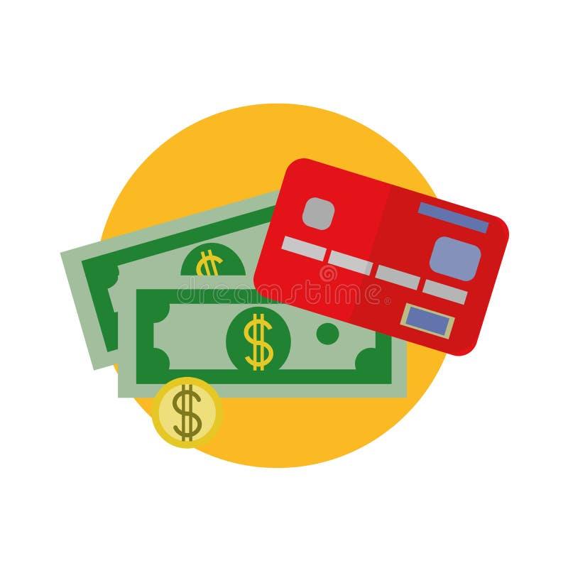 Vektor-flache Entwurfs-Dollargeld-Bargeldikone, KartenRegistrierkasse, Geldzahlung, Dollarzeichen, Währung vektor abbildung