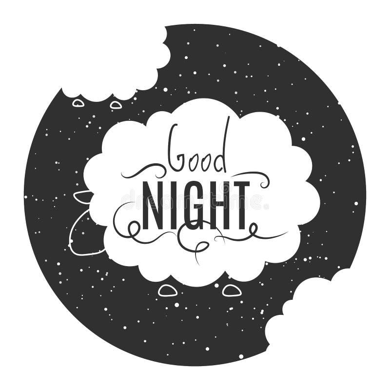 Vektor-flacher Nachtschafillustrations-Tierhintergrund lizenzfreie abbildung