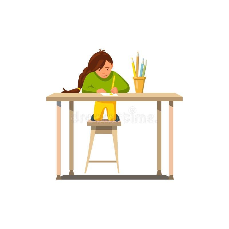 Vektor-flaches kleines Mädchen tun Lektion des Hausarbeit-abgehobenen Betrages stock abbildung